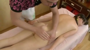 Lass is uncompromisingly aroused after massage and gets dropped making out