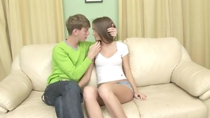 Nasty teen with shaved twat spreads toes