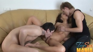 Two guys tag team an innocent babe