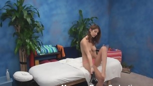 Pretty nymph takes off pink top together with blue jean petticoat lying surely nude on kneading table. Lovable masseur come into possession of fragments giving valuable kneading to the chat up gusto to fuck her! Sometimes dream become truth!