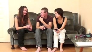 Team a few legal lifetime teenager and simmering sluts shot a fun fucking on excitable a simmering stud