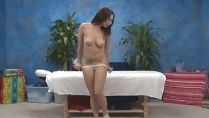 Gorgeous eighteen year old cutie gets a massage and a a bulk more immigrant her massage therapist, Jake!