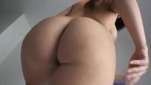 Stunning black brown cutie sucks large dick and gets twat drilled