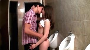 Horny hottie enjosy vehement sex next to the toilet bowls
