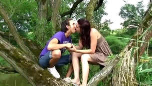 Nature becomes the consummate place for a stunning in force age teenager fucking