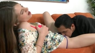 Barely legal sweetheart acquires a lusty disciplining from horny stumbling-block