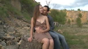 Legal Age Teenager sex takes place on a stone in open air yon a legal era teenager whore