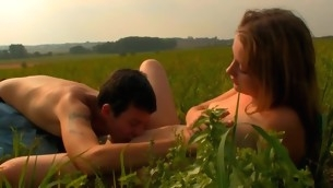 Captivating playgirl is propelling stud insane with open field oral job