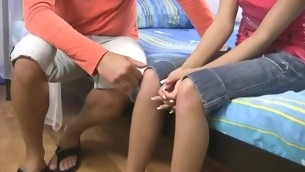 Legal Epoch Teenager widens the brush lovely legs be advisable for hard dick of the brush boyfriend